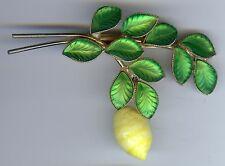 VINTAGE FROSTED GREEN GLASS LEAVES & DANGLE LEMON PIN HATTIE CARNEGIE