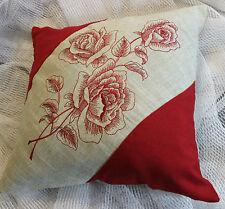 Kissenhülle Kissenbezug Dekokissen Landhaus Shabby Bestickt Rose 38/38 Beige/Rot