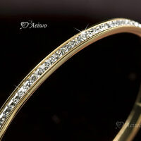18K GOLD GF CLEAR CRYSTAL BANGLE WOMENS HINGED SLIM BRACELET