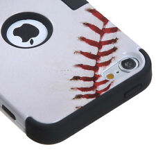 iPod Touch 5th 6th & 7th Gen - HARD&SOFT RUBBER ARMOR HYBRID CASE WHITE BASEBALL