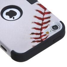 For iPod Touch 5th & 6th Gen -HARD&SOFT RUBBER ARMOR HYBRID CASE WHITE BASEBALL