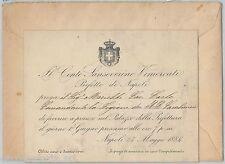 INVITO d'Epoca su carta intestata CONTE VIMERCATI Prefetto di NAPOLI 1884