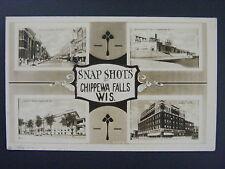 Chippewa Falls Wisconsin WI Multi-View Real Photo Postcard RPPC c1910