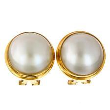 "11/16"" WHITE MABE PEARL 24K GOLD VERMEIL 925 STERLING SILVER OMEGA POST earrings"