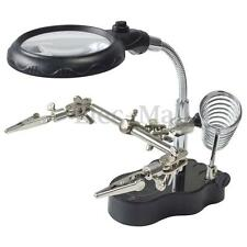 3X Helping Hand Soldering Stand With LED Light Magnifier Magnifying Glass Tool
