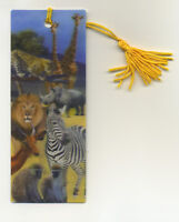 African Animals 3-D Lenticular Bookmark 2 1/4 by 6 inches FANTASTIC 3-D!