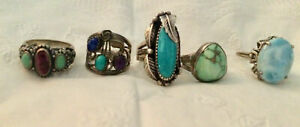 Beautiful lot of Southwestern Sterling Silver Gemstone Rings 5 1/2 to 6 1/2