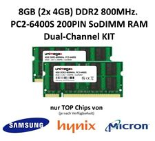 Unimega ® 8 Go (2x4gb) ddr2 800 MHz pc2-6400s 200pin 1,8 V modules Ram Mémoire