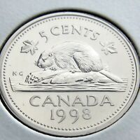 1998 Specimen Canada 5 Cents Nickel Canadian Uncirculated Elizabeth II Coin N149