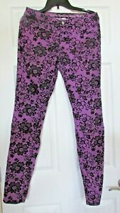 Girls Justice Premium floral purple/black Jean pant Size 18R