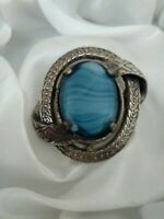 Vintage Signed Miracle Banded Blue Glass Silver Tone Celtic Brooch Kilt Pin