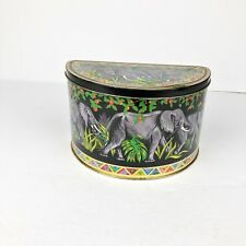 Semi Circle Container Tin Canister Elephant Print Black Green Floral Hinge Top