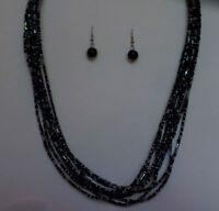 MULTI STRAND BLACK GLASS BUGLE SEED BEAD NECKLACE FREE EARRINGS MAKE SET 18 INCH