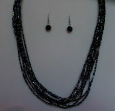 MULTI STRAND BLACK GLASS BUGLE SEED BEAD NECKLACE FREE EARRINGS MAKE SET 18 INCH
