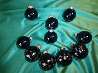 ~ alter Christbaumschmuck Glas 10 Weihnachtskugeln blau gold Tannenbaum Vintage