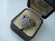 AMAZING SOLID 925 STERLING SILVER MARCASITE RING WISHBONE UNUSUAL RARE SIZE M