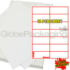 500 SHEETS OF PRINTER LASER LABELS 14 PER PAGE (7000)