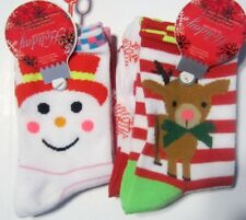 Womens Socks 6-8 NWT 4 pair  Holiday Pink Nose Reindeer Snowman Snowflakes + Lot