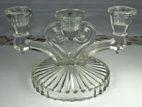 Mid Century GLASS CANDELABRA 3 Taper Candlesticks Spiral Heart Center NO DAMAGE!