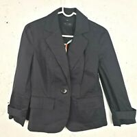 Talbots Womens Size 6 Blazer Suit Jacket Black Stretch Single Button