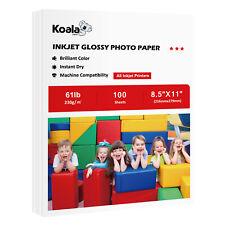 Koala 100 Sheets 8.5x11 Premium Glossy Inkjet Printer Photo Paper Canon Epson