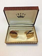 Vintage SWANK Round Gold Tone Cuff Links In Box