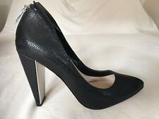 French Connection Women Black Leather Court Heels Size UK6 (R03).
