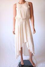 Haute Hippie Ivory Drawstring Asymmetrical Hem Silk Dress