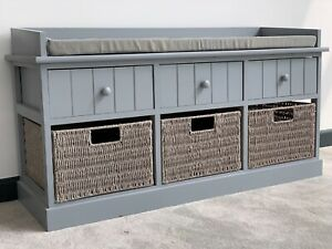 Home Delights Grey Storage Bench With 3 Baskets / Hallway Bench With Cushion