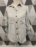 Zara Women's Size S Tan Button Front Long Sleeve top Shirt blouse #3C36