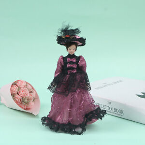 1:12 Doll House Victorian Ceramic Doll Model Movable Purplish Red Pleated Dr_kz
