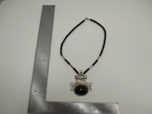 Vintage Sterling Silver Tuareg Berber Homemade African Necklace Onyx Stone S3777