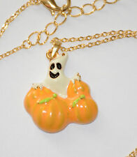 Ghost in Pumpkin Patch Halloween Necklace / 18-20 Gold-tone Chain / Dainty