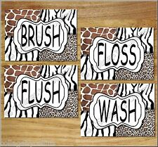 Leopard Zebra Giraffe Animal Prints Wall Art Bathroom Decor Safari BRUSH FLUSH +