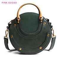 Pink Sugao Women Handbags Purses Round Shape Bags Leather Tote Bag Crossbody Bag