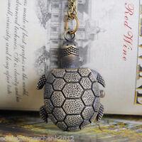 1 Bronzefarben Halskette Schildkröte Quarz Taschenuhr 87cm