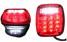 Jeep TJ CJ YJ JK Replacement Tail Lights w/ Bright Red LED's Illuminator on Left