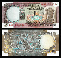 1970-80 INDIA 10 RUPEES DEER PEACOCK HORSE Rare Old Vintage Legal UNC Bank Note