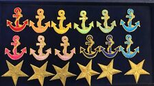 "Lot Set of 2.25"" Nautical Anchor Iron Ons Sewing Patches Metallic Stars F1"