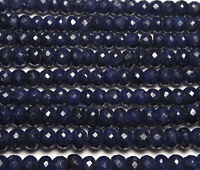 "16"" Strand BLUE SAPPHIRE 3.5-4mm Faceted Rondelle Beads /d2"