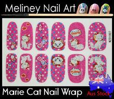 Marie Cat Full Cover Glitter Nail Art Wraps Stickers Pattern cartoon Disney pink