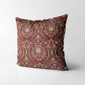 Wk221a Red Gold Damask Chenille Flower Throw Cushion Cover/Pillow Case Custom