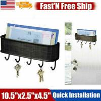 5 Hook Wall Mounted Key Rack Hanger Holder Storage Key Letter Organizer Decor US