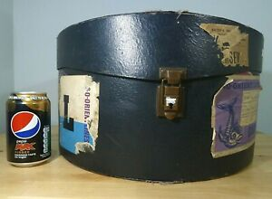 Fabulous Large Blue Vintage Hat Box with Travel Labels & Blue Silk Lining