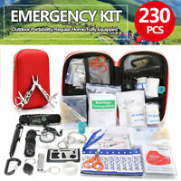 230Pcs Emergency Survival First Aid Kit SOS Medical Carry Bag Home Travel Car