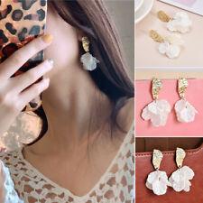 Retro Sweet White Flower Shell Earrings Women Statement Drop Dangle Ear Stud