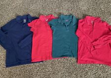 Cat & Jack School Uniform Girls Tops Size Large (10/12) Lot of 4 Navy Red Green