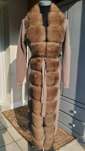 New Silver Fox and Wool Jacket Coat Size S - M, 8 - 10 UK Sable Colour not Mink