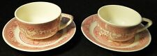 Royal China Pink Willow Ware Tea Cup Saucer Set Red 2 Excellent