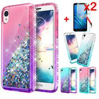 For Motorola Moto E6 Case Glitter Liquid Gradient Bling Diamond+Screen Protector